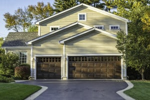 Traditional American Home with Garage Door